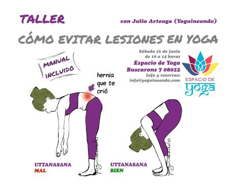 Taller como evitar lesiones en yoga BARCELONA